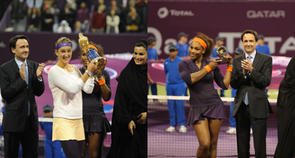 Qatar Total Open 2013 trophies: Serena Williams vs. Victoria Azarenka